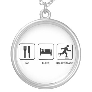 Eat Sleep Rollerblade Silver Plated Necklace