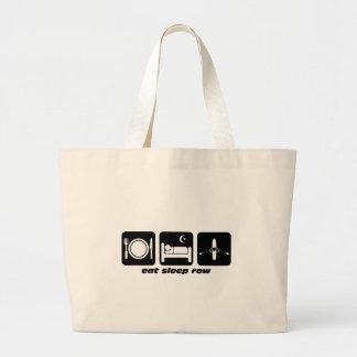 eat sleep row large tote bag