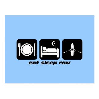 eat sleep row postcard