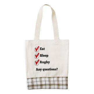 Eat Sleep Rugby Checklist Zazzle HEART Tote Bag