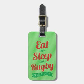 Eat, Sleep, Rugby Repeat Customisable Luggage Tag