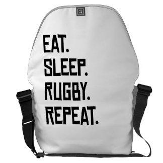 Eat Sleep Rugby Repeat Messenger Bags