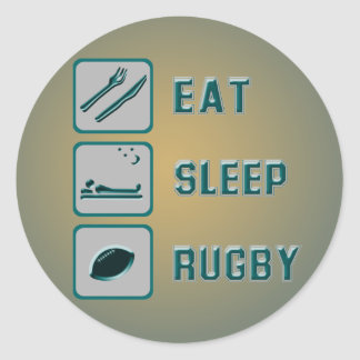 Eat Sleep Rugby Classic Round Sticker