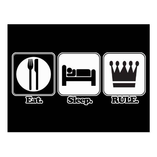 eat sleep rule postcard