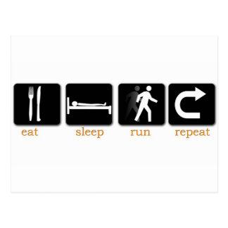 Eat Sleep Run Repeat Postcard
