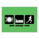 Eat sleep run running greeting card