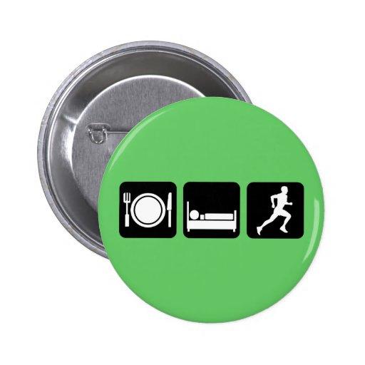 Eat sleep run running pinback button