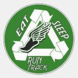 Eat Sleep Run Track Round Stickers