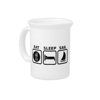 Eat Sleep Sail Beverage Pitcher