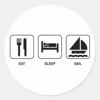 Eat Sleep Sail Classic Round Sticker
