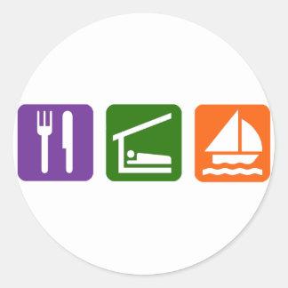 Eat Sleep Sailing Classic Round Sticker