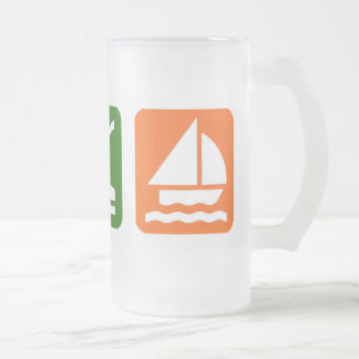 Eat Sleep Sailing Frosted Glass Beer Mug