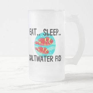 Eat Sleep SALTWATER FISH 16 Oz Frosted Glass Beer Mug