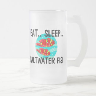Eat Sleep SALTWATER FISH Frosted Glass Beer Mug