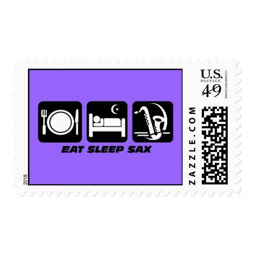 eat sleep sax postage stamp