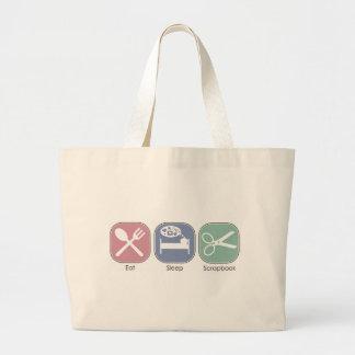 Eat Sleep Scrapbook Large Tote Bag