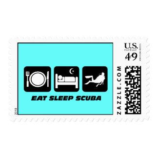 eat sleep scuba postage stamp