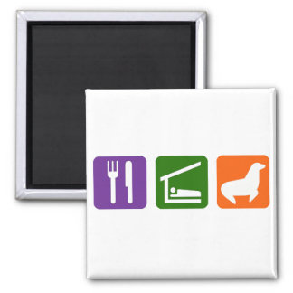 Eat Sleep Seals 2 Inch Square Magnet