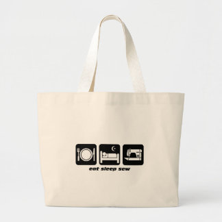 Eat sleep sew large tote bag