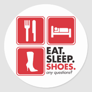Eat Sleep Shoes - Red Classic Round Sticker