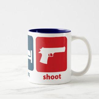 Eat, Sleep, Shoot Two-Tone Coffee Mug