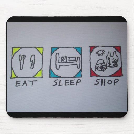 eat,sleep,shopping mousepad