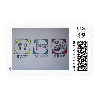 eat,sleep,shopping stamp