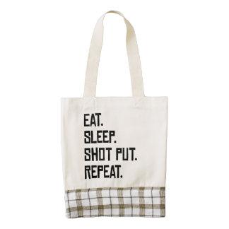 Eat Sleep Shot Put Repeat Zazzle HEART Tote Bag