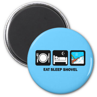eat sleep shovel 2 inch round magnet