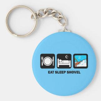 eat sleep shovel basic round button keychain