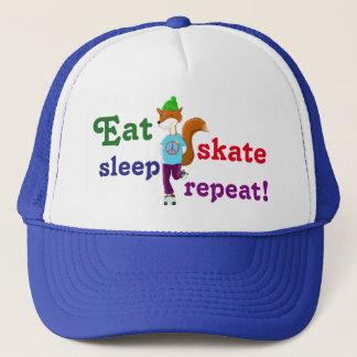 Eat Sleep Skate Repeat Rollerskating Fox Trucker Hat