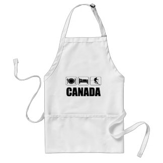 Eat sleep ski canada adult apron