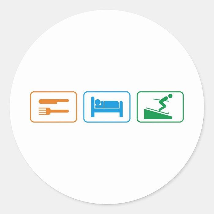 EAT SLEEP SKI CLASSIC ROUND STICKER
