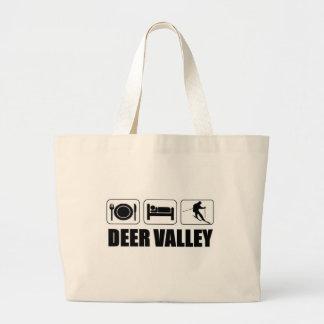 Eat sleep ski deer valley large tote bag