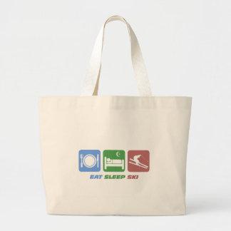 eat sleep ski jumbo tote bag
