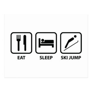 Eat Sleep Ski Jump Postcard