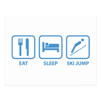 Eat Sleep Ski Jump Postcard