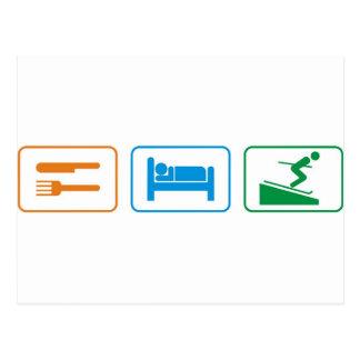 EAT SLEEP SKI POSTCARD