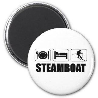 Eat sleep ski steamboat magnet