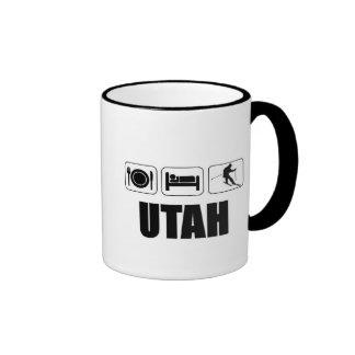 Eat sleep ski Utah Ringer Coffee Mug