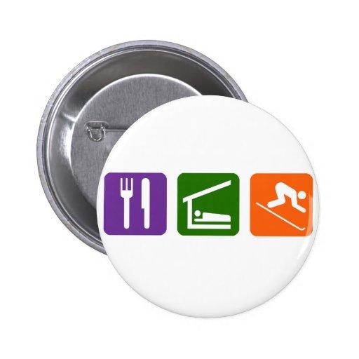 Eat Sleep Skiing 2 Inch Round Button
