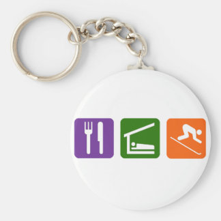 Eat Sleep Skiing Basic Round Button Keychain