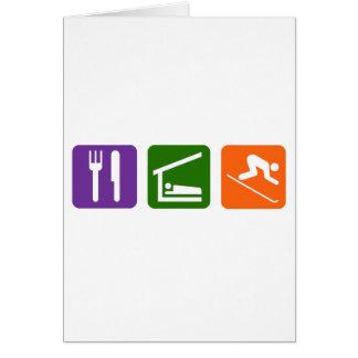 Eat Sleep Skiing Greeting Card