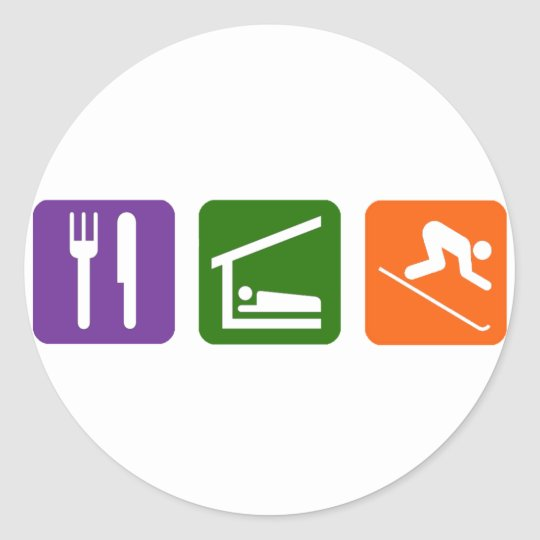 Eat Sleep Skiing Classic Round Sticker