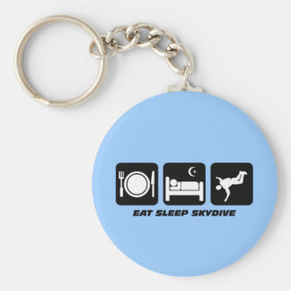 eat sleep skydive basic round button keychain