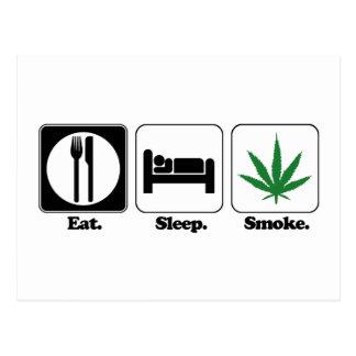 eat sleep smoke pot postcard