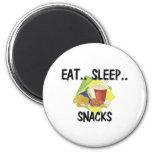 Eat Sleep SNACKS 2 Inch Round Magnet