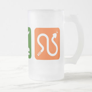 Eat Sleep Snakes Frosted Glass Beer Mug