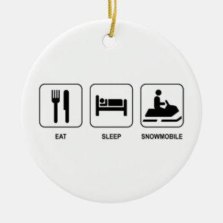 Eat Sleep Snowmobile Ceramic Ornament