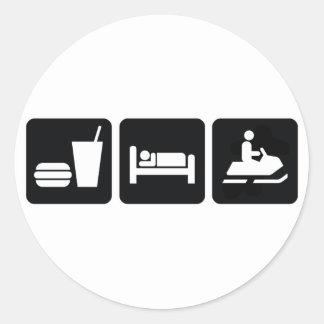 Eat Sleep Snowmobile Classic Round Sticker